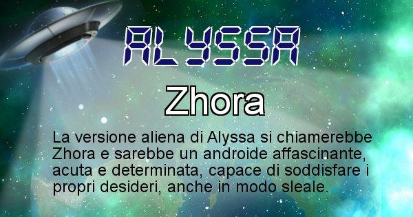 Alyssa - Nome alieno corrispondente a Alyssa