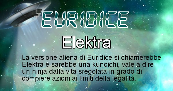 Euridice - Nome alieno corrispondente a Euridice