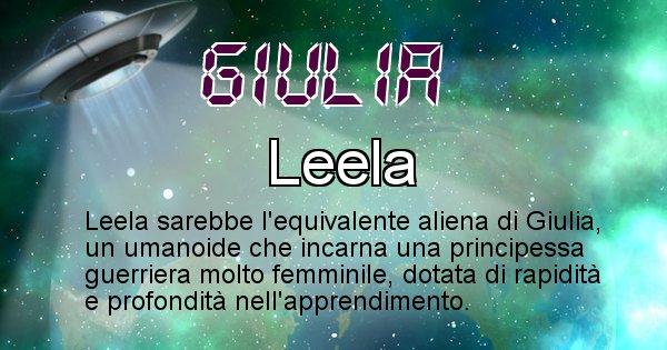 Giulia - Nome alieno corrispondente a Giulia