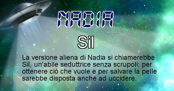 Nadia - Nome alieno corrispondente a Nadia