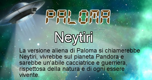 Paloma - Nome alieno corrispondente a Paloma