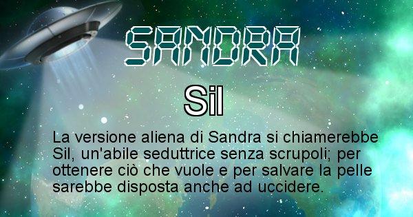 Sandra - Nome alieno corrispondente a Sandra