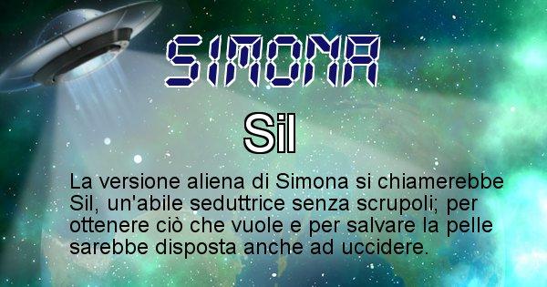 Simona - Nome alieno corrispondente a Simona