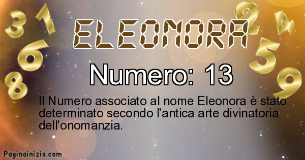 Eleonora - Numero fortunato per Eleonora