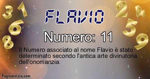 Flavio - Numero fortunato per Flavio