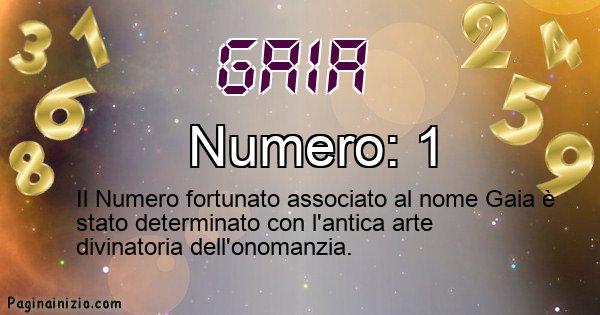 Gaia - Numero fortunato per Gaia