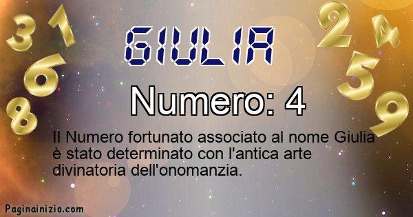 Giulia - Numero fortunato per Giulia