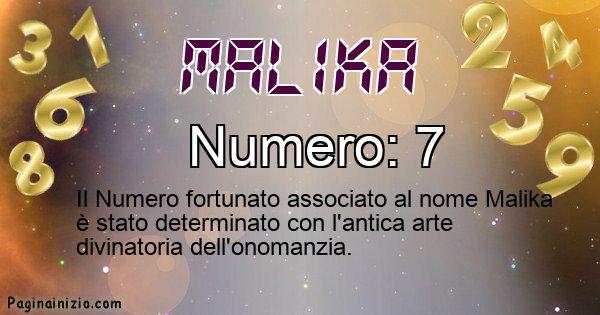 Malika - Numero fortunato per Malika