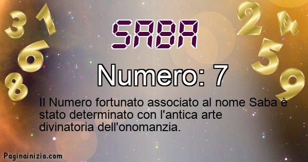 Saba - Numero fortunato per Saba