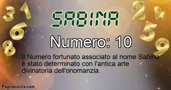 Sabina - Numero fortunato per Sabina