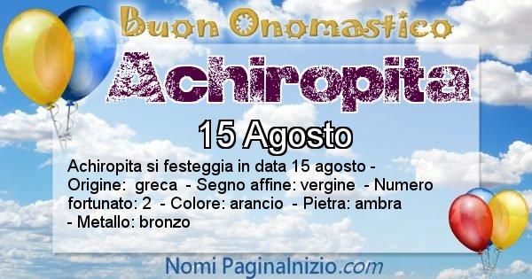 Achiropita - Onomastico del nome Achiropita