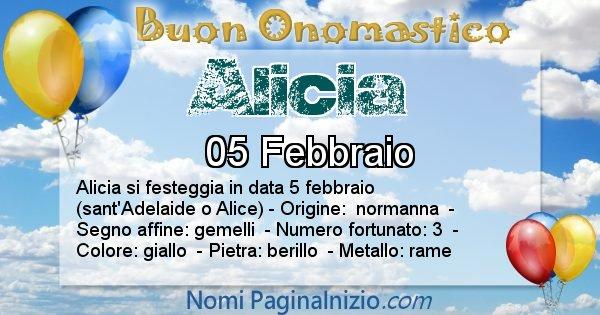 Alicia - Onomastico del nome Alicia