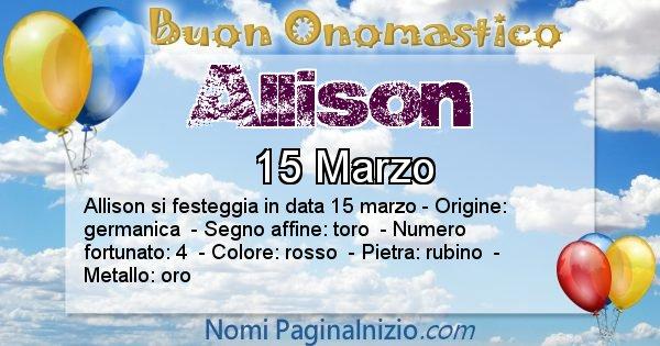 Allison - Onomastico del nome Allison