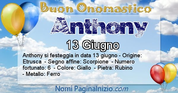 Anthony - Onomastico del nome Anthony