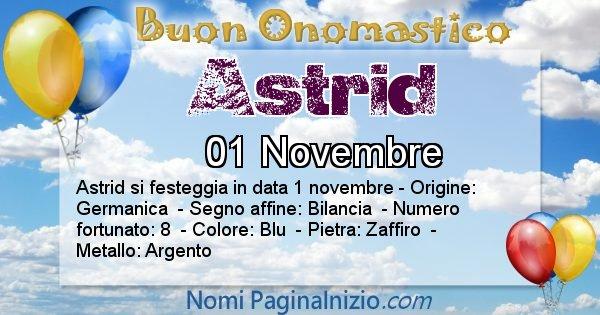 Astrid - Onomastico del nome Astrid