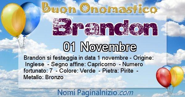 Brandon - Onomastico del nome Brandon