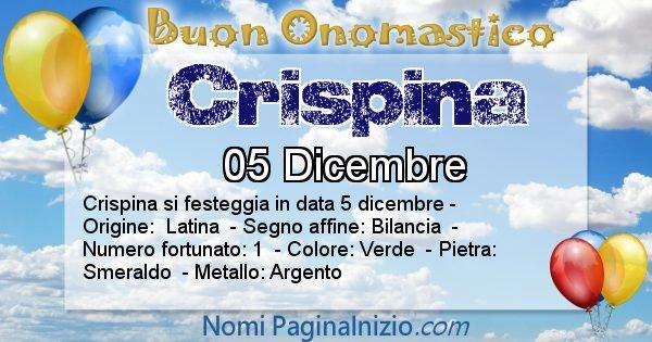 Crispina - Onomastico del nome Crispina