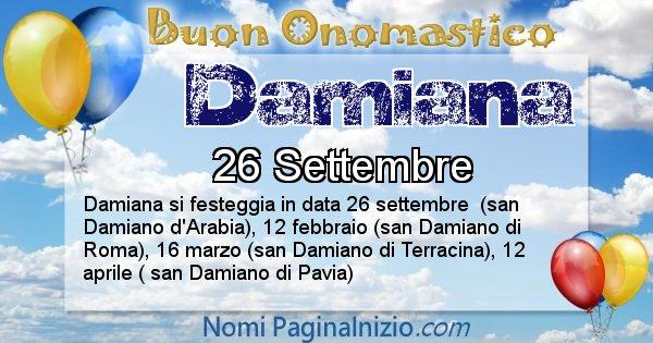 Damiana - Onomastico del nome Damiana