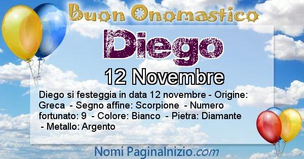 Diego - Onomastico del nome Diego
