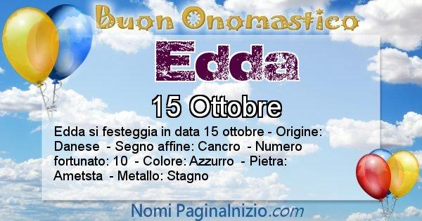 Edda - Onomastico del nome Edda