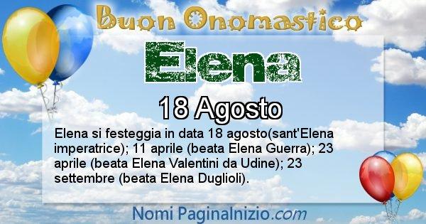 Elena - Onomastico del nome Elena
