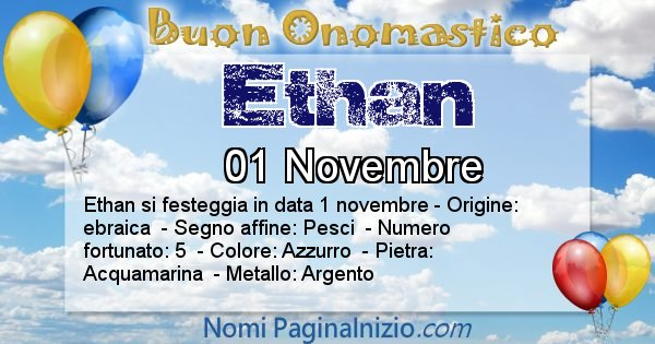 Ethan - Onomastico del nome Ethan
