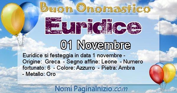 Euridice - Onomastico del nome Euridice