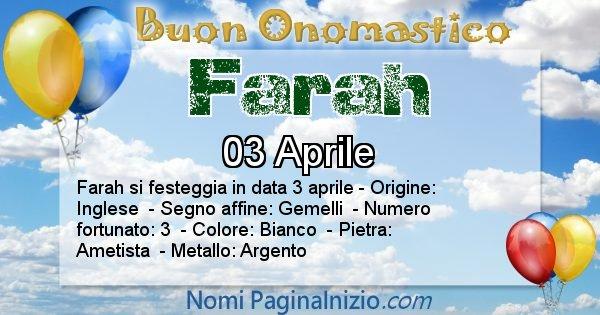 Farah - Onomastico del nome Farah
