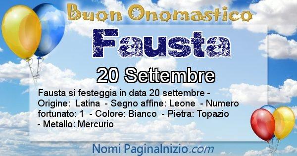 Fausta - Onomastico del nome Fausta