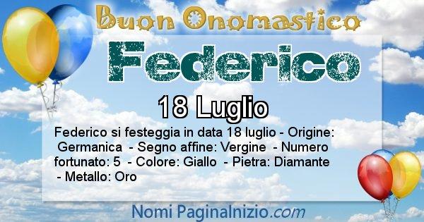 Federico - Onomastico del nome Federico
