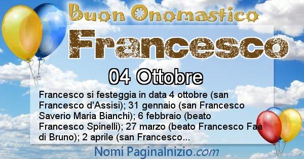 Onomastico Del Nome Francesco