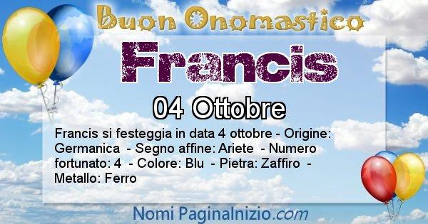 Francis - Onomastico del nome Francis