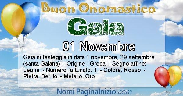 Gaia - Onomastico del nome Gaia