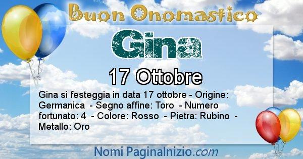 Gina - Onomastico del nome Gina