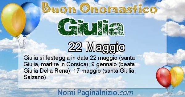 Giulia - Onomastico del nome Giulia