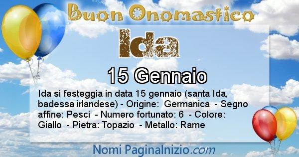 Ida - Onomastico del nome Ida