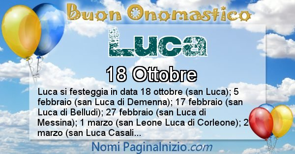 Luca - Onomastico del nome Luca