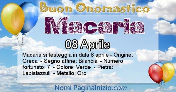 Macaria - Onomastico del nome Macaria