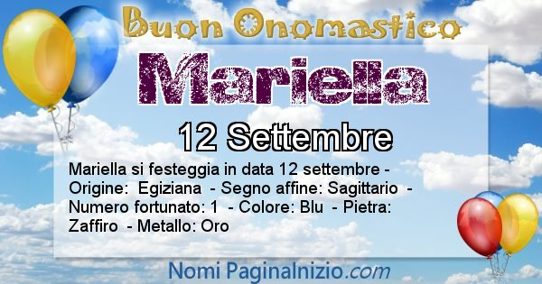 Mariella - Onomastico del nome Mariella