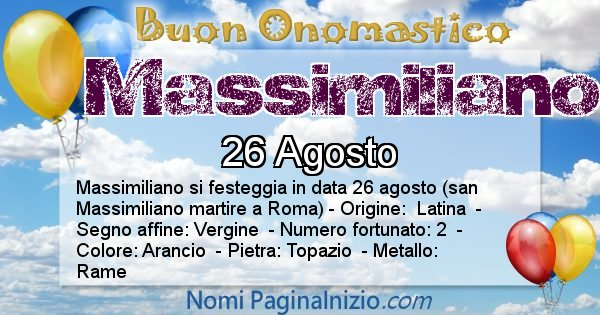 Massimiliano - Onomastico del nome Massimiliano