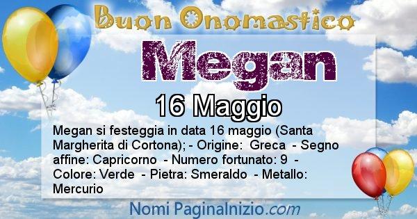Megan - Onomastico del nome Megan