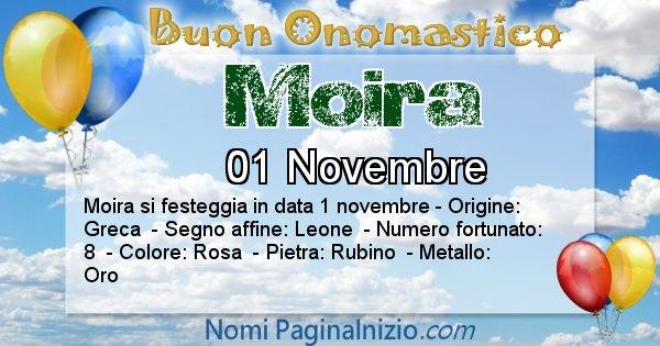 Moira - Onomastico del nome Moira