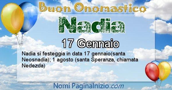 Nadia - Onomastico del nome Nadia
