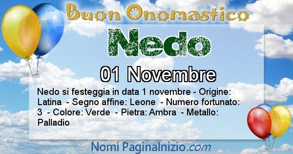 Nedo - Onomastico del nome Nedo