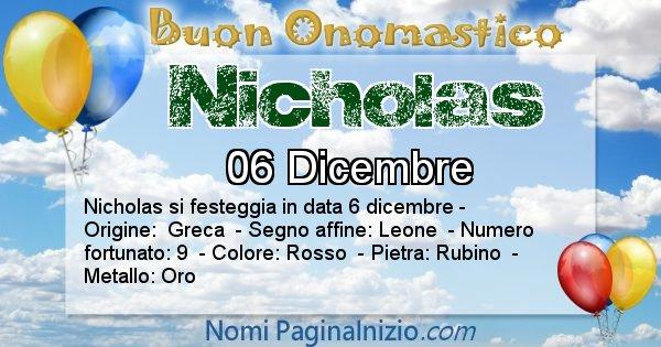 Nicholas - Onomastico del nome Nicholas