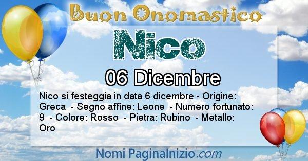 Nico - Onomastico del nome Nico