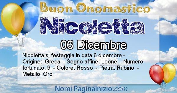 Nicoletta - Onomastico del nome Nicoletta