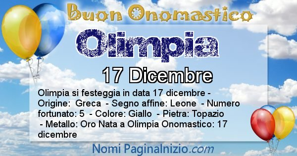 Olimpia - Onomastico del nome Olimpia