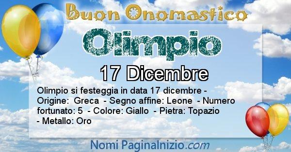 Olimpio - Onomastico del nome Olimpio