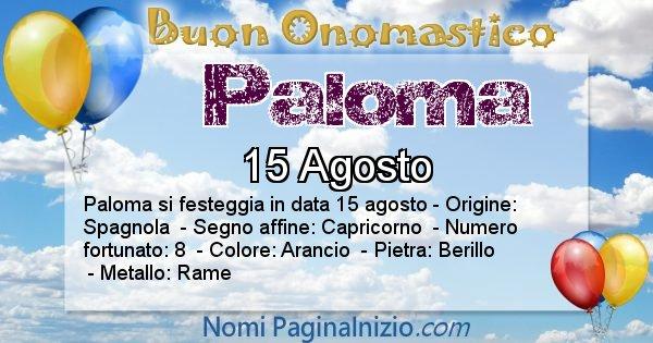 Paloma - Onomastico del nome Paloma